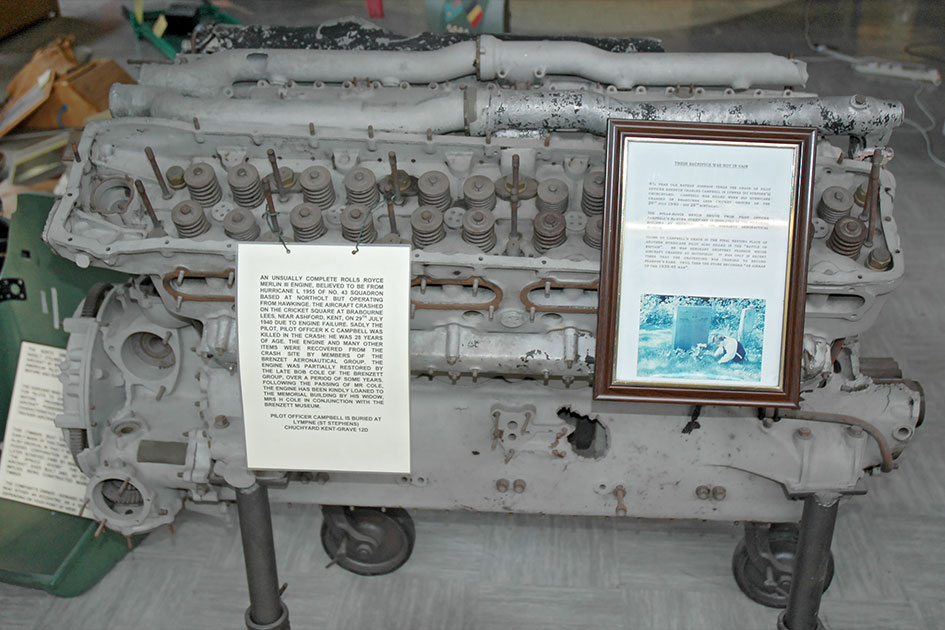 Rolls Royce Merlin from the crash of Hurricane L1955 on display