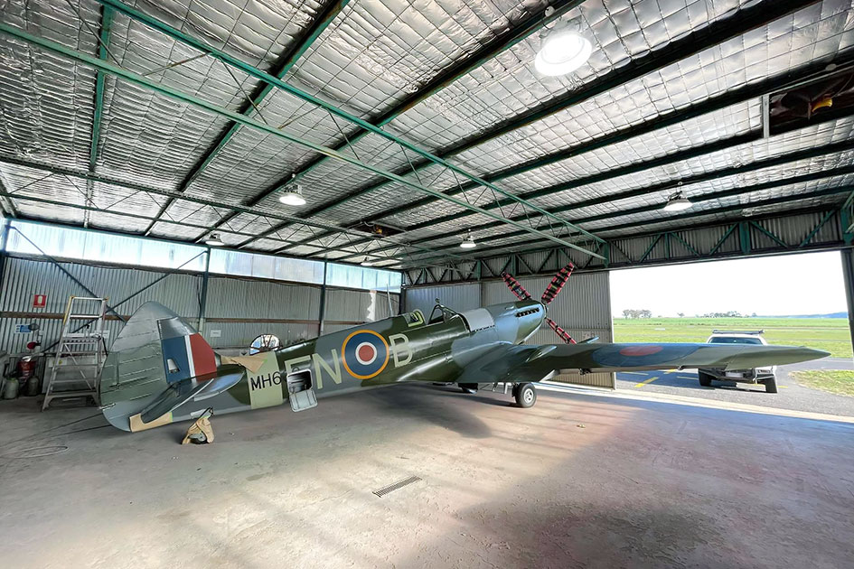 Supermarine Spitfire MH603 is being masked to refinish external camouflage
