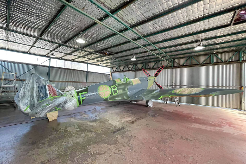 Supermarine Spitfire MH603 masked up for refinishing of large areas of external camouflage