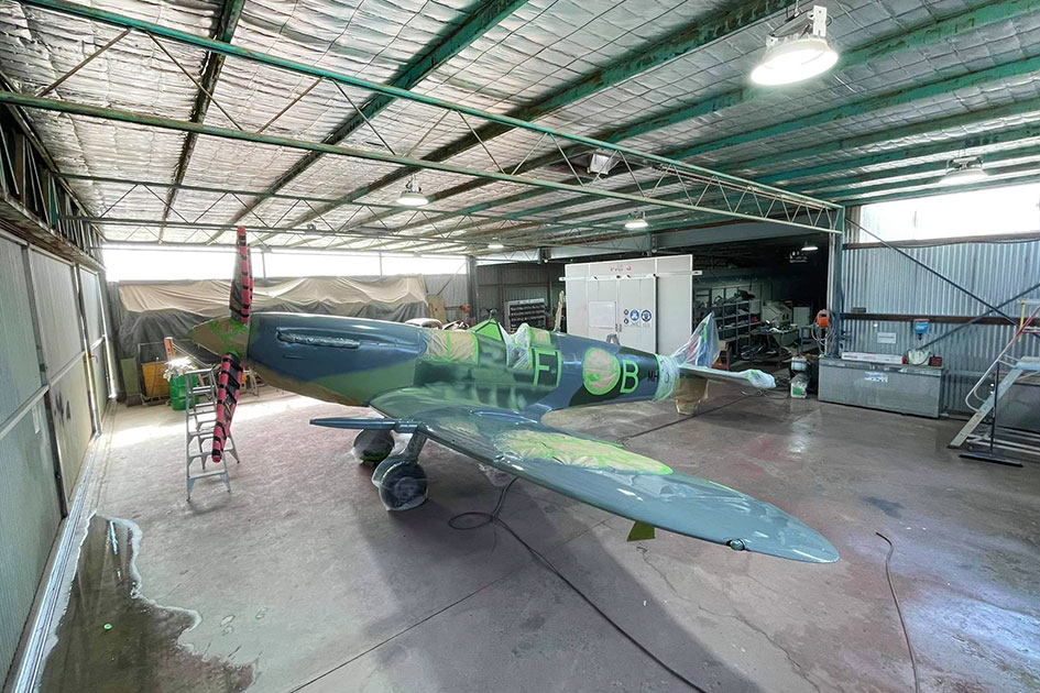 Supermarine Spitfire MH603 masked up in the paint shop at Scone NSW